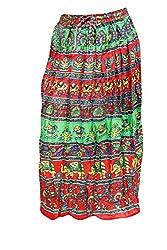 Indiatrendzs Women's Cotton maxi Skirts Red Print Long Skirts