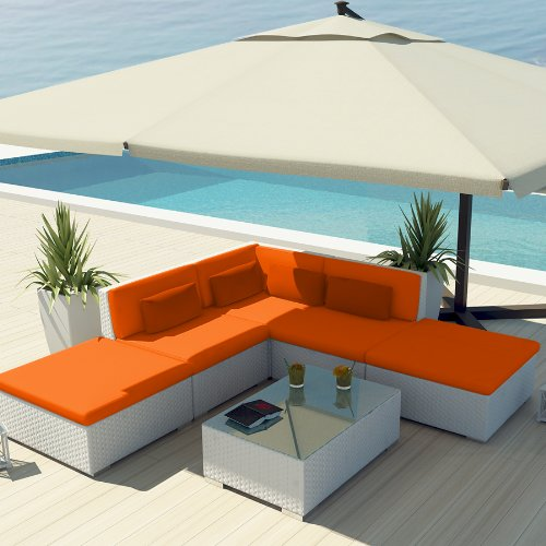 Uduka Outdoor Sectional Patio Furniture White Wicker Sofa Set Porto 6 Orange All Weather Couch image