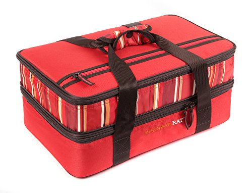 Take Chopped & Layered Taco Salad to a potluck in a Rachael Ray Expandable Lasagna Lugger in Red