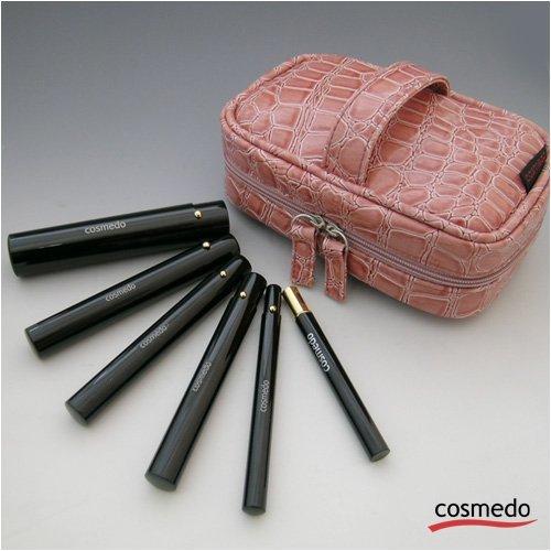 匠の化粧筆コスメ堂 熊野筆メイクブラシ 携帯用スライド式RSシリーズ メイクブラシセット (ポーチ付き)