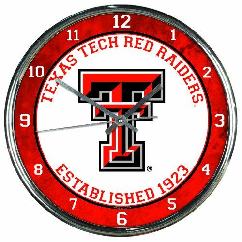 NCAA Texas Tech Red Raiders Chrome Clock