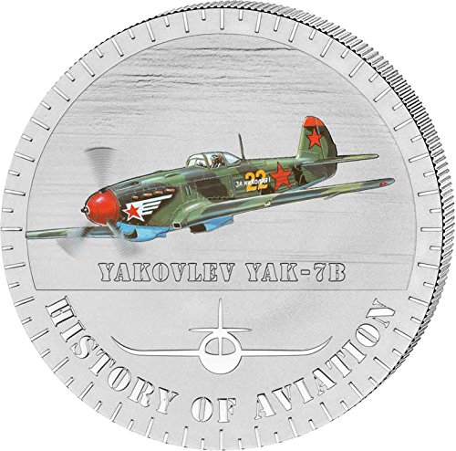 2014 BI history aviation YAKOVLEV YAK-7B History Of Aviation Airplane Fighter Aircraft Silver Coin 5000 Francs Burundi 2014 Dollar Perfect Uncirculated