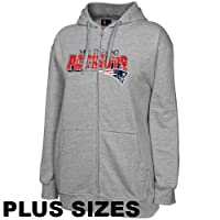 NFL England Patriots Ladies Ash Football Classic III Plus Sizes Full Zip Hoodie Sweatshirt from Football Fanatics