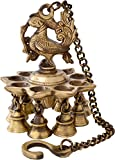 Two Moustaches Brass Hanging Peacock Diya with Bells
