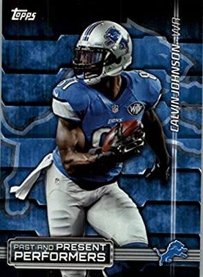 2015 Topps Past and Present Performers #PPPJS Calvin Johnson / Barry Sanders - Detroit Lions (NFL Football Card)