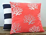 One coral nautical pillow covers, cushion, decorative throw pillow, decorative pillow, accent pillow, pillow case, 20x20
