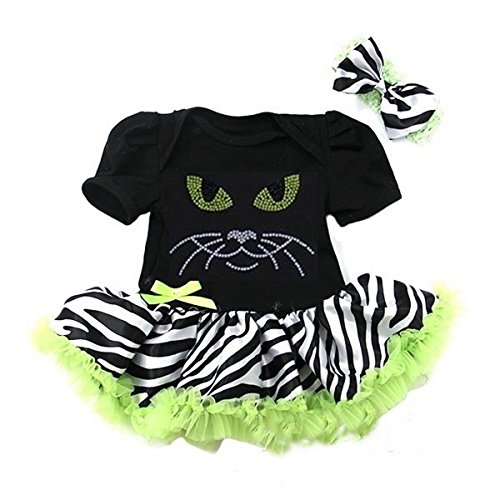 Baby Halloween Black Lime Zebra Rhinestone Cat Eye Bodysuit Tutu & Headband