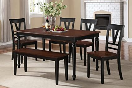 6 pc Viola collection black finish wood legs and cherry finish wood tops dining table set with wood top seats