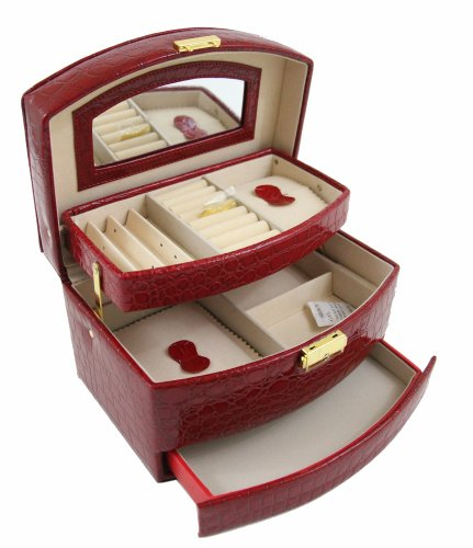 Little Princess Faux Leather Jewelry Box Storage Case Chest Girls Ring Necklace (Red) front-952134