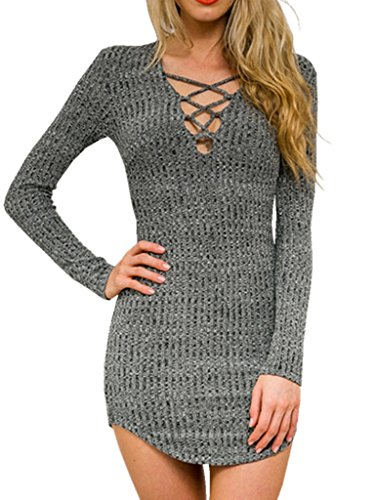 Persun Women Grey V Neck Long Sleeve Bodycon Mini Sweater Dress Top, Grey, Small