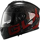 GLX Dual Visor Full Face Motorcycle Street Bike Helmet (Metal, Large) (DOT)