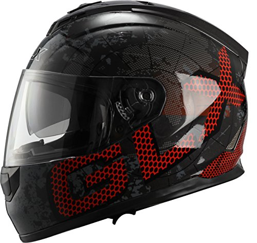 GLX Dual Visor Full Face Motorcycle Street Bike Helmet (Metal, Large) (DOT)