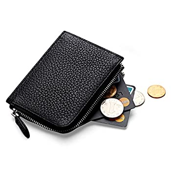 2. MEKU Womens Togo Leather Card Case Wallets Super Soft Money Organizers Small Purse with Zipper Cash Holders for Lady