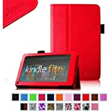 "FINTIE (Red) Slim Fit Folio Stand Leather Case for Amazon Kindle Fire 7"" Tablet -10 Color Options (does not fit Kindle Fire HD)"