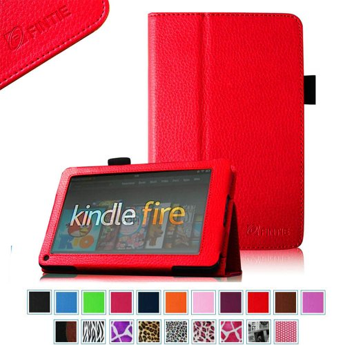 "Great Features Of FINTIE (Red) Slim Fit Folio Stand Leather Case for Amazon Kindle Fire 7"" Tabl..."