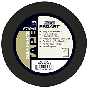 Pro Art 2-Inch by 30-Yards Gaffers Tape, Black