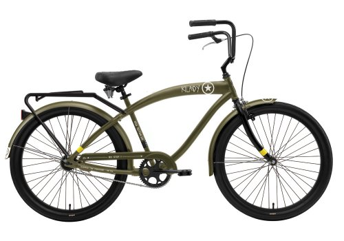 Nirve Kilroy Men's Single Speed Cruiser Bike with Fenders (26-Inch Wheels, Olive Green)