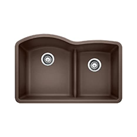 Blanco 441597 Diamond 1.75 Low Divide Under Mount Double Bowl Kitchen Sink, Large, Cafe Brown