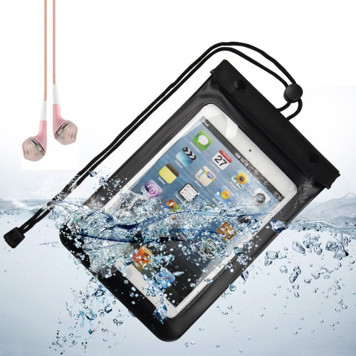 Sumaclife Waterproof Case Dry Bag Pouch For Ipad Mini / Ipad Mini Retina 7.9 Inch Tablets (Black) + Pink Vangoddy Headphone With Mic