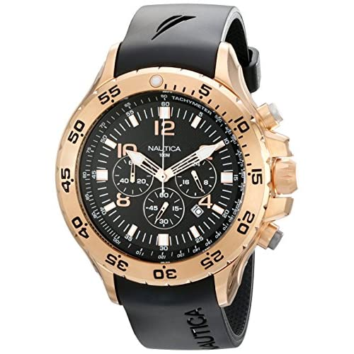 Nautica Men's NST Chrono N18523G Black Resin Quartz Watch with Black Dial