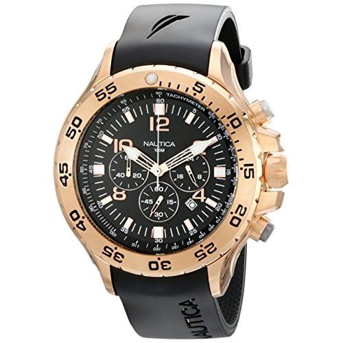 Nautica Men's NST Chrono N18523G Black Resin Quartz Watch with Black Dial