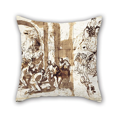 DGOOD Throw Cushion Covers 20 X 20 Inches / 50 By 50 Cm(2 Sides) Nice Choice For Family,divan,relatives,son,festival,christmas Oil Painting Charles-Alphonse Dufresnoy - The Adoration Of The Magi (No Sew Hockey Blanket compare prices)