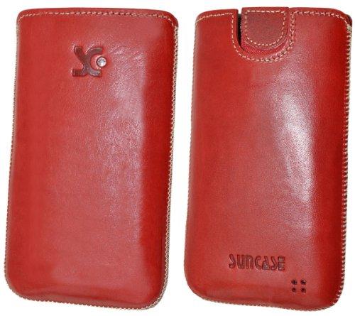 Original Suncase Tasche fuer / Alcatel One Touch 992D (Dual-Sim) / Leder Etui Handytasche Ledertasche Schutzhuelle Case Huelle - Lasche mit Rueckzugfunktion* In Rot