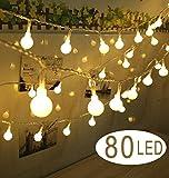 CooKey sfera luci della stringa - 80 palle 10m a pile Globe Fata Luce - ideale per interni, per esterni, giardino, Natale Albero, partito, festival, decorazione Wedding (bianco caldo)