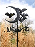 Whitehall Products Bat and Moon Garden Weathervane, Black
