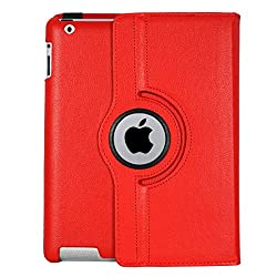 iPad 3 Case, Flip Cover 360 Degree Series PU Leather 360 Degree Rotating Flip cover With auto wake sleep (Red)