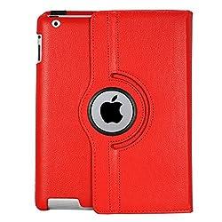 iPad 3 Case, Stand Flip Cover 360 Degree Series PU Leather Premium 360 Degree Rotating Stand Flip Cover With auto wake sleep (Red)