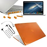 Skque Orange Clip-on Hard Cover Case + Silicone Port Dust Plug + Clear Crystal Screen Protector Guard + Hdmi Adapter + 3.5mm In-ear Earphone W/mic for Apple Macbook Pro 15 with Retina Display