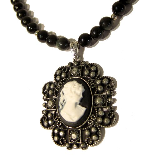 Obsidian Necklace 05 Pendant Black Rainbow Lady Cameo Silver Beaded Gemstone Healing 18