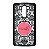 Monogram Personalized Damask Pattern Vs Rose Initials LG G3 Best Durable Plastic Cover Case