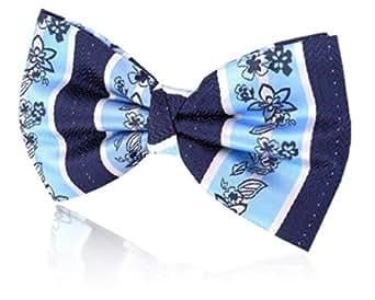 Nœud Papillon Motif Fleuri Pré-Noué à Rayures Bleues