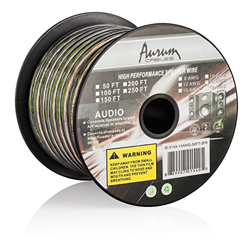Aurum Cables 14 Gauge Transparent PVC Speaker Zip Wire w/ ft markings every 5 ft - 200 feet (Speaker Wire 14 Gauge 200 Feet compare prices)