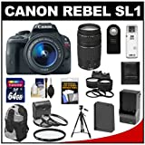 51XG9K6T6tL. SL160  Canon EOS Rebel SL1 Digital SLR Camera & EF S 18 55mm IS STM Lens with EF 75 300mm III Lens + 64GB Card + Battery + Backpack + 2 Lenses + Accessory Kit