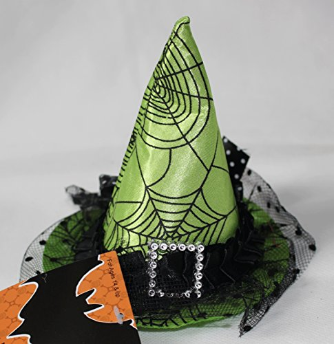 [Nantucket Home Mini Halloween Hair Clip Witch Hat, Green Spider Web] (Adult Witch Mask With Hat And Hair)