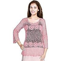 THE CROCHET COMPANY Handmade Cotton Crochet Top, Pink, M