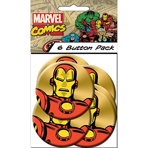 "C&D Visionary Marvel Comics Retro Iron Man Close Up 3"" Round Button (6-Piece)"