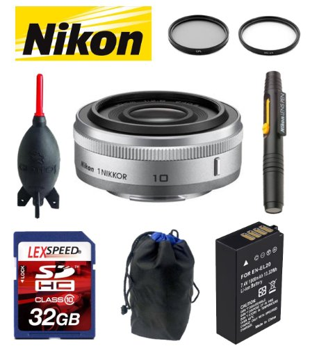Nikon 1 NIKKOR 10mm f/2.8 Lens (Silver) + Battery + Case + Lens Cleaning System + Giotto's Blower + Filter Kit + 32GB [Frustration-Free Packaging] V1 Kit
