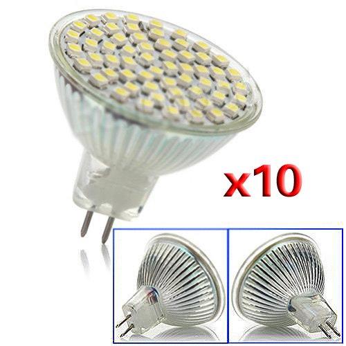 Sodial(R) 10 X Mr16 Gu5.3 220V Day White 60 Led Smd 4W Energy Saving Spot Light Lamp Bulb