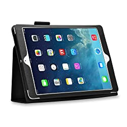 MOFI Black Leather Flip Case Stand with magnetic closure for Apple iPad Air (Auto wake and sleep) - Black