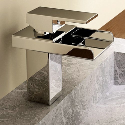 Lightinthebox® Deck Mount Single Handle Widespread Waterfall Bathroom Sink Faucet Chrome Square Bathtub Mixer Taps Bath Tub Faucet Lavatory Single Hole Vessel Sink Unique Designer Ceramic Valve Includ