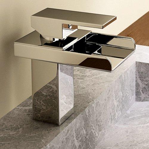 Single Handle Waterfall Bathroom Vanity Sink Faucet, Chrome