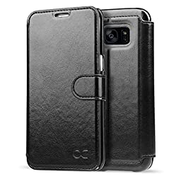 Galaxy S7 Edge Case OCASE Leather Wallet Case [Slim Fit] - For SAMSUNG Galaxy S7 Edge Devices -Black
