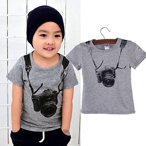 Amison Estate Bambini Ragazzo Bambini Fotocamera Manica corta Top O collo T Shirt Tees (110)