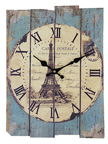 JustNile Vintage Rectangular Wall Clock - Eiffel Tower w/ Roman Digits