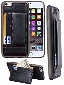 iPhone 6 / 6s, Hynice [2 Card Slots] [Fashion Style] [KICKSTAND] PU Leather Case [Ultra Slim] , Leather Case Back Cover Credit Card wallet case for iPhone 6 / 6s 4.7 inch (black)