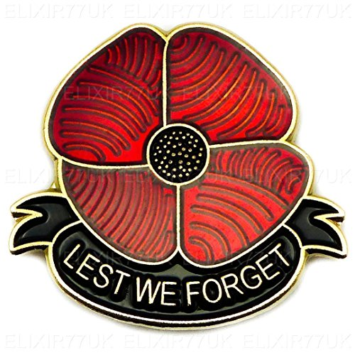 NEW Large 3D effect Red Poppy Flower Least We Forget Lapel Pin Metal Badge UK SELLER